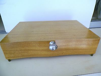 Light Blonde Wood Footed Flatware Storage Chest*no Reserve