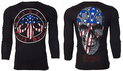 Archaic AFFLICTION Mens THERMAL T-Shirt PATRIOT Skull USA FLAG Biker M-3XL $58