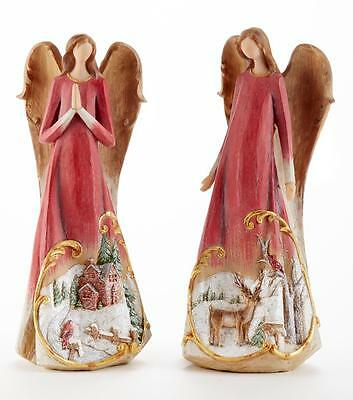 "Delton 2 Angel Scenic Christmas Scene Figures 11"" Tall Red 5325-8 New"