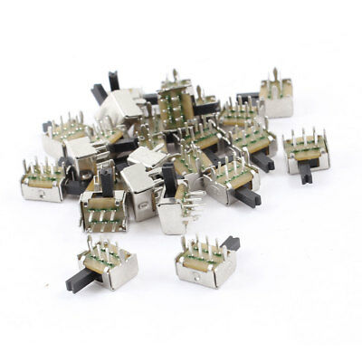 25 Pcs Dual Row 6Pin 2 Position DPDT Latching Micro Mini Slide Switch
