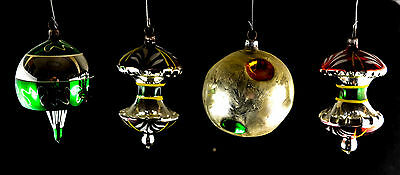 Vintage Glass Christmas Ornaments Set of 4 Apples and Indents