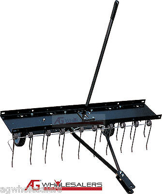 "Lawn Tyne Dethatcher 40"" Pull Tow Behind Ride On Mower -Lawn Care Garden Aerator"