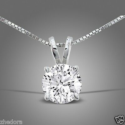 2.5 Ct Round Cut 14K White Gold Solitaire Pendant Box Chain Necklace + 18""