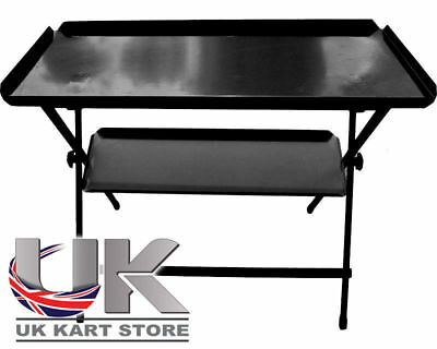 Double Shelf Folding Work Table Black UK KART STORE