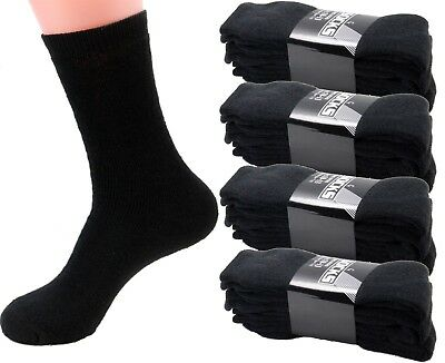 3 6 12 Pairs Mens Black Sports Athletic Work Crew Cotton Socks Size 9-11 10-13
