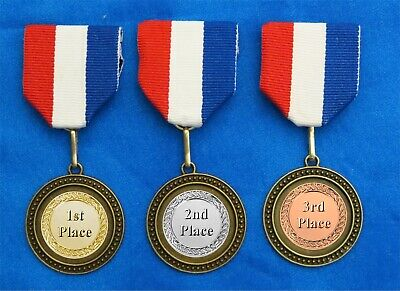 1st 2nd 3rd Pin On Ribbon Award 3 Medals Race Derby Contest Sports Gold Silv Brz