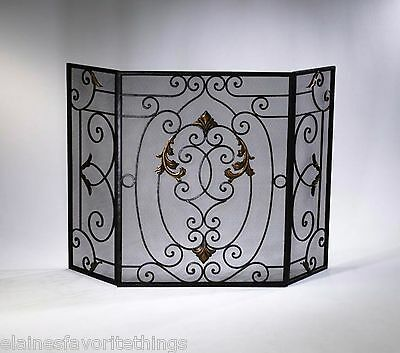 Tuscan/French Country Iron Fireplace Screen w/Gold Accent