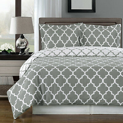 Full / Queen Size Meridian Gray and White 3 pc Duvet Cover Contemporary Print