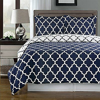 Navy and White Meridian 3 Piece King California king Duvet Cover set