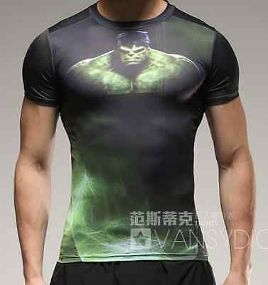 The Incredible Hulk 3D T-Shirt Top Men Man Sports Gym Running Fitness Quick Dry