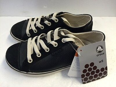 Crocs HOVER LACE UP LEATHER BLACK/STUCCO Fashion Sneakers Women's 5 - NEW