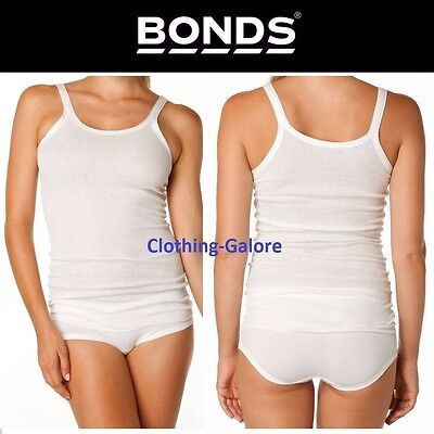 Womens Bonds Cumfy Tube Long Rib Tank Top Ladies White Stretch Plus Size Singlet