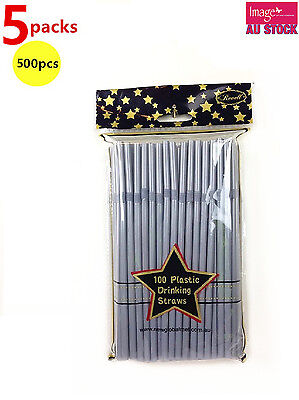 500pcs Revell Party Pack Plastic Drinking Straws Solid Silver/Grey PW9988 x5