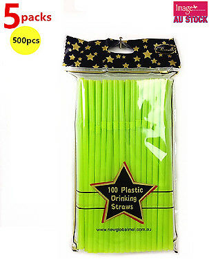 500pcs Revell Party Pack Plastic Drinking Straws Solid Green PW9986 x5