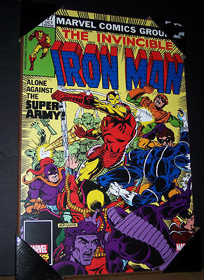 "Marvel Comics Iron Man #127 Alone the Super Army Wooden Wall art 19"" x 13"" inch"
