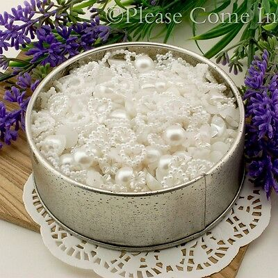1000 White Pearl Scrapbooking Embellishment Mixed in Container