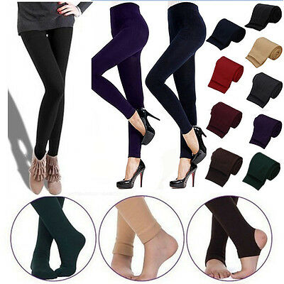Thick Fleece Thermal Footless Leggings Warm Winter Pencil Slim Pants Stretchy