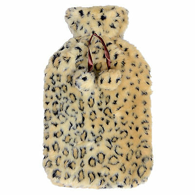 Hot Water Bottle With Plush Fleece White Leopard Animal Print Cover - Great Gift