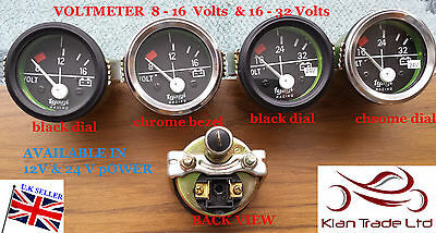 "2""Vintage CAR UNIVERSAL 8-16-32 V VOLTMETER CLOCK BLACK CHROME 12,24V DIAL GAUGE"