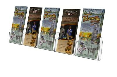 "Clear Wall-Mount 5 Pocket Tri-fold Brochure Holder For 4""w Literature"
