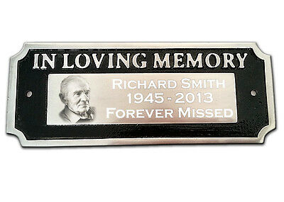 """Memorial Plaque """"IN LOVING MEMORY"""" Photo and Text Engraved Aluminium Bench Sign"""