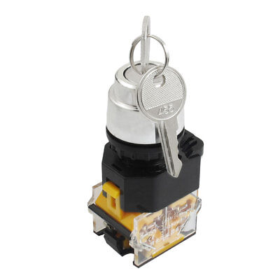 Rotary Keylock Select Ignition 2 Position Pushbutton Switch 380VAC 10A NO NC