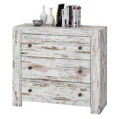 Kommode Sideboard Shabby Chic Vintage weiß 90 cm 3 Schubladen Used Look