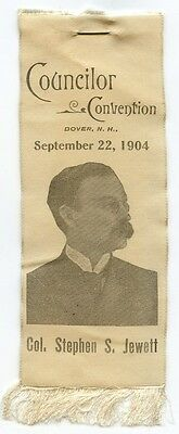 1904 Dover, New Hampshire Councilor Convention Ribbon of Col. Stephen S. Jewett
