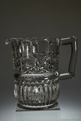 SCARCE c. 4Q 1800's STAR AND RIB by Unknown CRYSTAL Water Pitcher