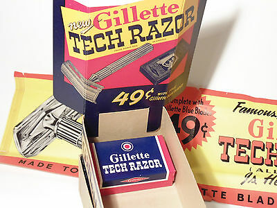 MIB Gillette safety razor 1932 Canada MINT in box with dealer display cards