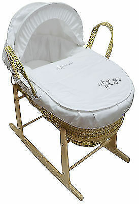 My Little Star White Palm Baby Moses Basket And Natural Rocking Stand New