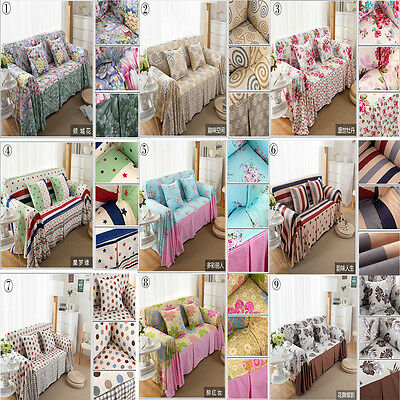 100% Cotton Removable Sofa Couch Lounge Slipcover Recliner 1 2 3 Seater,9 Styles