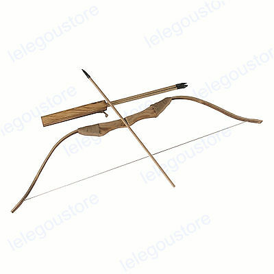Toy Bow and Arrow Kids Archery Set Wood Hunting Bow & Wooden Quiver w/ 3 Arrows