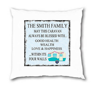 Personalised Bless this Caravan Camping Camper Plaque Cushion Cover Xmas Gift