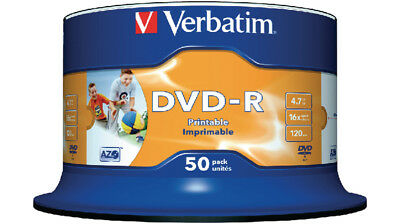 50 Verbatim DVD-R Full Face Inkjet Printable 50 Discs Spindle Pack 4.7 GB