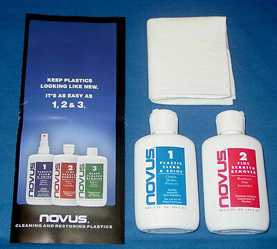 Novus 1 & 2 Plastic Scratch Remover, Polish with Cloth Combo Kit - Free Shipping