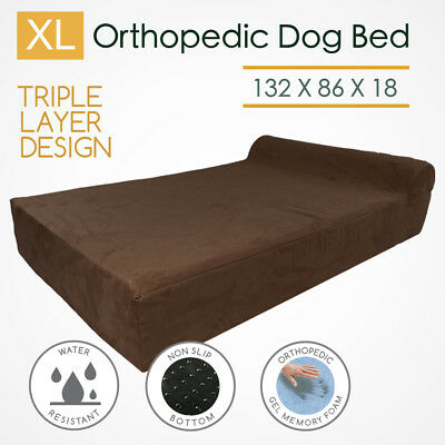 XL Orthopedic Memory Foam Dog Bed Bolster Extra Large 3 Layers Big Mattress