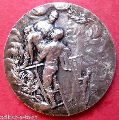 HUGE 1930 3-D FRENCH SILVER FIREFIGHTING MEDAL by EMILE MONIER! JUST INCREDIBLE!
