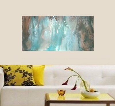 Brown Aqua Teal Blue Hand Painted Modern Abstract Canvas Painting Original Art