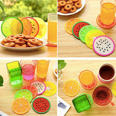 Cute Colorful Silicone fruits Coaster Cup Cushion Holder Drink Placemat Mat Home