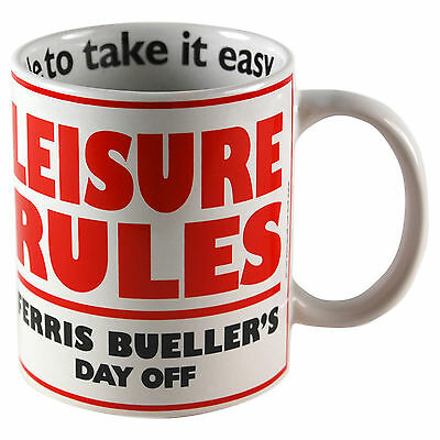 FERRIS BUELLER MUG - Leisure Rules - Retro Coffee Cup Kitchen Gift Comedy Home