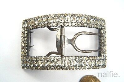 ANTIQUE ENGLISH GEORGIAN PERIOD SILVER FOILED PASTE SHOE BUCKLE c1780