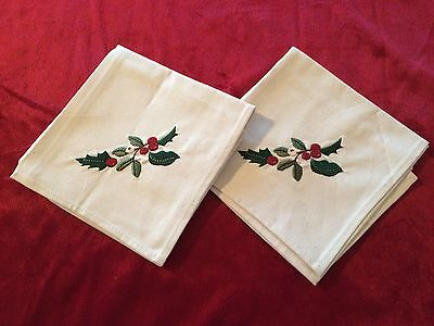 Longaberger Christmas Nature's Garland Napkins in Natural Set of 2 New