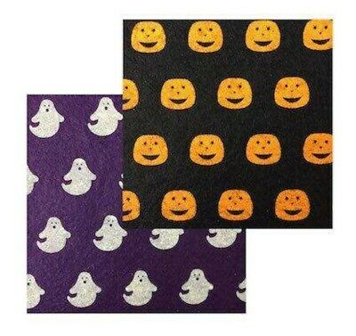 Halloween Felt 2 Sheets 1 Pumpkin and 1 Ghost  Size 15cm Squares