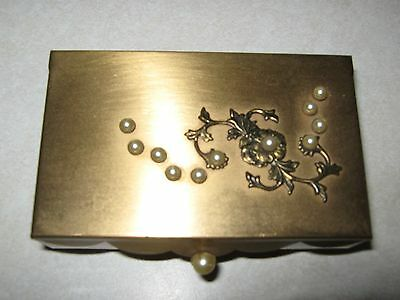"vintage goldtone with pearls footed  ring trinket box 4""X 2 1/2"""