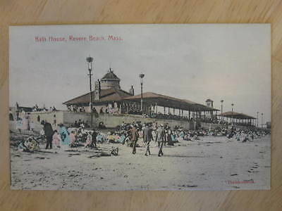 Revere Beach MA Bath House c1910 Postcard - Glitter