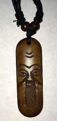 Carved Bone Old Man Pendant Adjustable Necklace Free Shipping in the USA!