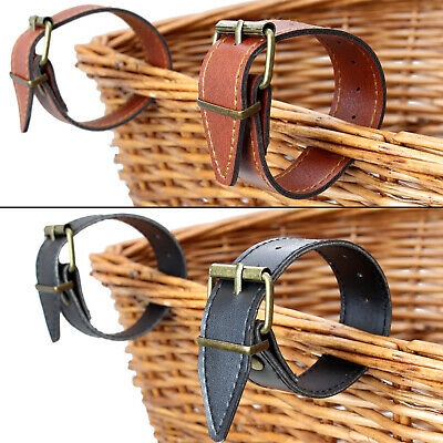 "Pedalpro Leather Bicycle Basket Straps 9.5"" Inch Bike/cycle/handlebars Pair/set"