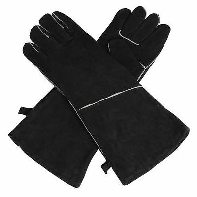 HEAVY DUTY Wood Burner Stoves Fireplace Heat Resistant Fire Gloves - Black