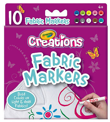 10PC Crayola Creations Fabric Clothing Fine Line Bright, Bold Colour Markers